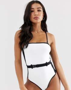 belted colour block swimsuit in white pattern - White