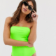 exclusive bandeau swimsuit in neon green - Green
