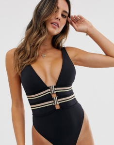 plunge swimsuit with clip front in black - Black
