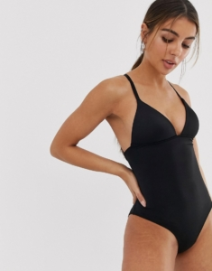 ribbed moulded cup swimsuit in black - Black