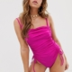 square neck ruched swimsuit in slinky hot pink - Pink
