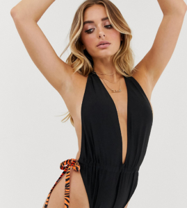 tiger & buckle plunge swimsuit - Black