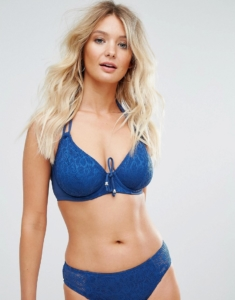 Crochet Halter Underwired Bikini Top C-G Cup - Navy