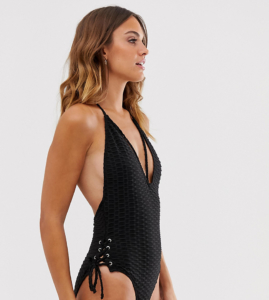 Unqiue21 crinkle lace up side swimsuit - Black