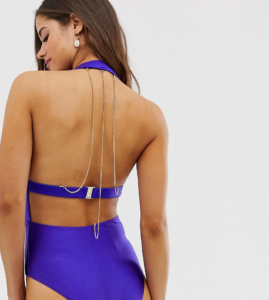 chain back metallic swimsuit - Purple