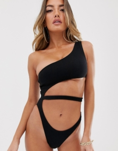 cut out swimsuit with high leg in black - Black