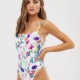 exclusive swimsuit with square neck in white floral - Multi