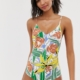 low cut swimsuit with back detail in tropical print - Multi