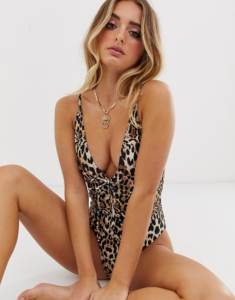 plunge high leg swimsuit in leopard print - Multi