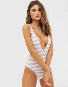 plunge swimsuit in neutral stripe crochet - Multi