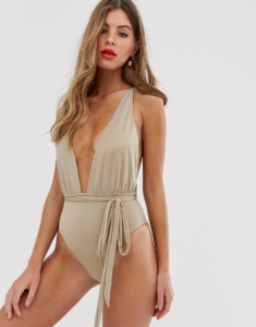 plunge swimsuit with tie waist in gold - Gold