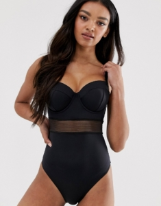 recycled fuller bust exclusive mesh insert underwired swimsuit in black dd-g - Black