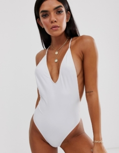 swimsuit with multi cross strapping back detail - White