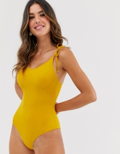 tie strap swimsuit in deep yellow - Orange