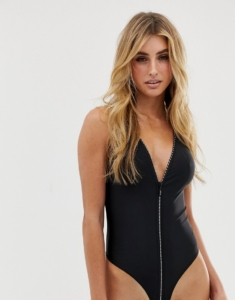 zip through suit in black - Black