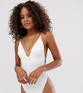 ASOS DESIGN tall skinny tie strap back swimsuit in textured in white - White