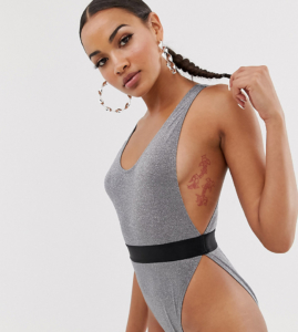 Exclusive glitter micro high leg swimsuit in silver - Silver