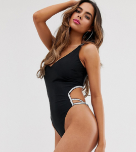 Fuller Bust Exclusive Eco silver elastic cut out swimsuit in black D - F Cup - Black