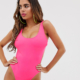 Fuller Bust Exclusive cut out swimsuit in pink D - F Cup - Pink
