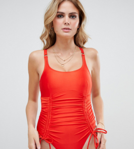 Fuller Bust Exclusive strung and gathered swimsuit in red - Red
