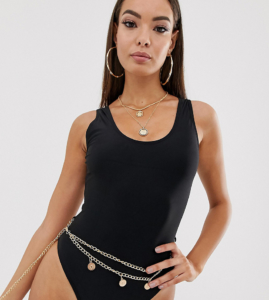 high leg swimsuit with chain belt in black - Black