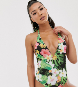 plunge high leg swimsuit in floral - Multi