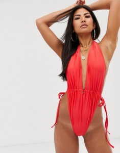 ruched tie side high leg plunge swimsuit in shiny red - Red