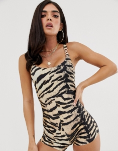 unitard swimsuit in animal print - Brown