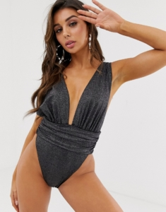 gathered waist plunge swimsuit in black glitter - Blue